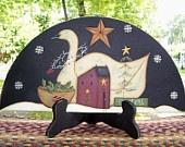Door Crown PrimitiveSaltbox House-Swan- Winter-Handpainted Wood Home Decor Sign
