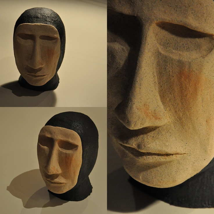 ceramic head 2; fired and hand painted clay sculpture by iza hazell