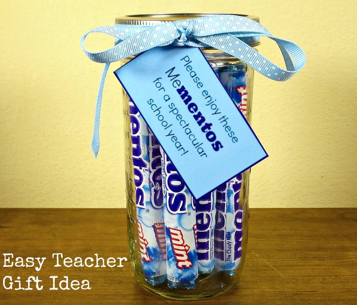 This easy teacher gift idea features Mentos. Put everything inside a mason jar and attach the free printable for a complete teacher appreciation gift.