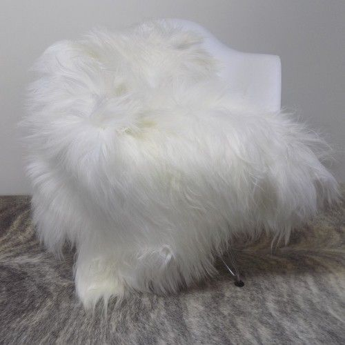 mongolian goat skin long hair white