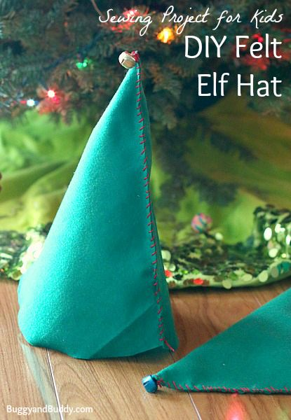 Perfect beginning sewing project for kids to do for Christmas:  DIY Felt Elf Hat~ BuggyandBuddy.com