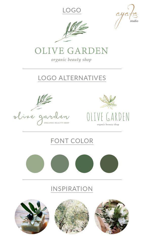 Ramo d'ulivo Logo Design / acquerello ramo d'ulivo di AYAKAstudio