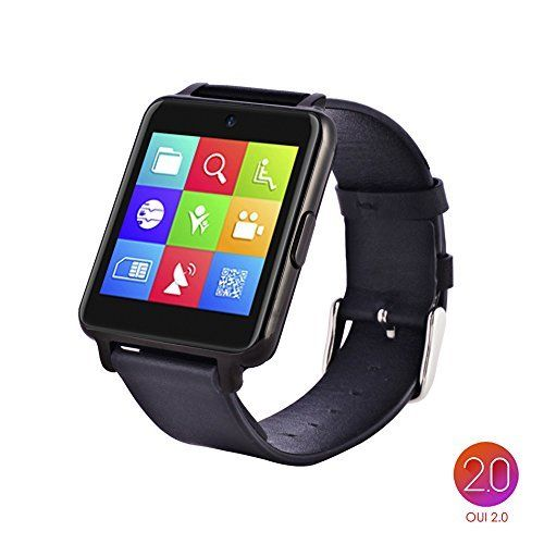 OUMAX™Bluetooth Smart Watch S6 Plus for iPhone 6, 6 Plus, 6S and Samsung S6, Note 5 (Full Function Support for iOS 9.0 and Android 4.3 or above)¨Cdark grey/IPS Panel/Premium Leather Strap *** Want additional info? Click on the image.
