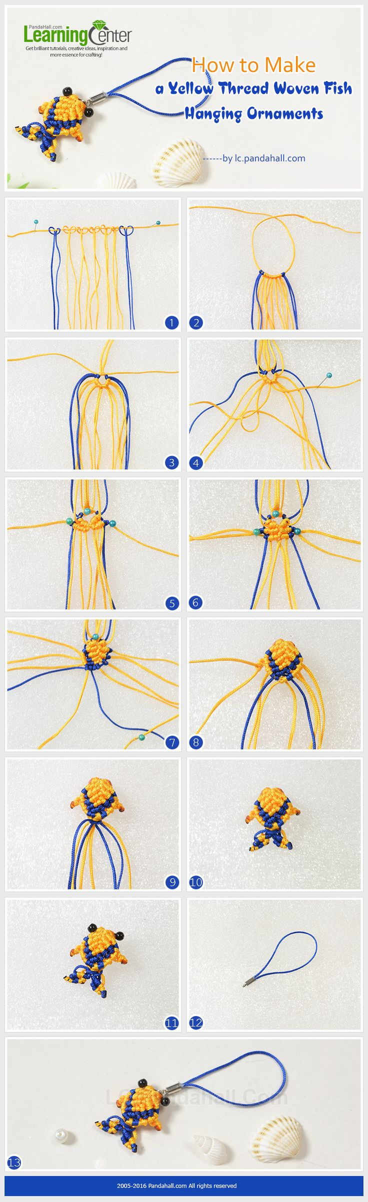 Tutorial on How to Make a Yellow Thread Woven Fish Hanging Ornaments from LC.Pandahall.com       #pandahall