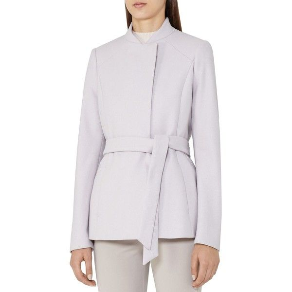 Reiss Franklin Belted Coat ($530) ❤ liked on Polyvore featuring outerwear, coats, cloud, belt coat, reiss coat, belted coat, sash belt and stand collar coat