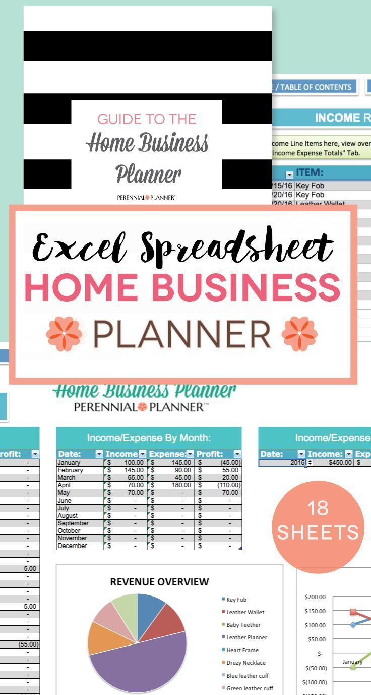 Home Business Planner - 2016 2017 18 Page Excel Spreadsheet - Etsy Seller Budget, Weekly Schedule, Income, Expenses, Bookkeeping, Inventory - http://www.popularaz.com/home-business-planner-2016-2017-18-page-excel-spreadsheet-etsy-seller-budget-weekly-schedule-income-expenses-bookkeeping-inventory/