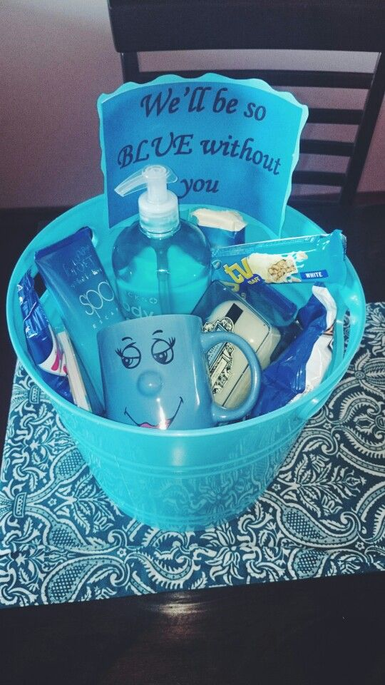 Farewell gift for a work colleague. She loved it. Include iTunes, gift cards, ties for the guys, blue pashminas for the girls, eos lip balms, DREAM BIG