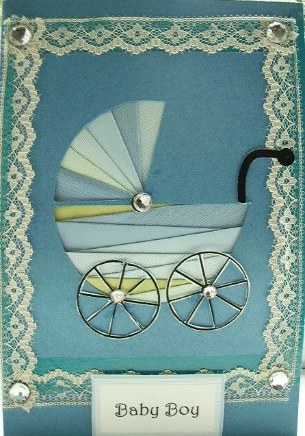 Do you know someone with a baby on the way? This iris folding pattern for a blue baby carriage is so lovely.