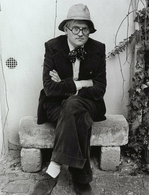 """David Hockney, Great exhibition at the Royal Academy. This pic reminds me of """"Bill & Ben the flower pot men """"smoking little weed""""""""!! It's the hat!!"""