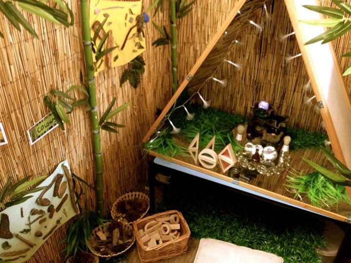 """Beautiful mirrored area to build small world play at Sandringham Primary School. Liking the bamboo screen too - image shared by Walker Learning Approach: Personalised Learning ("""",)"""