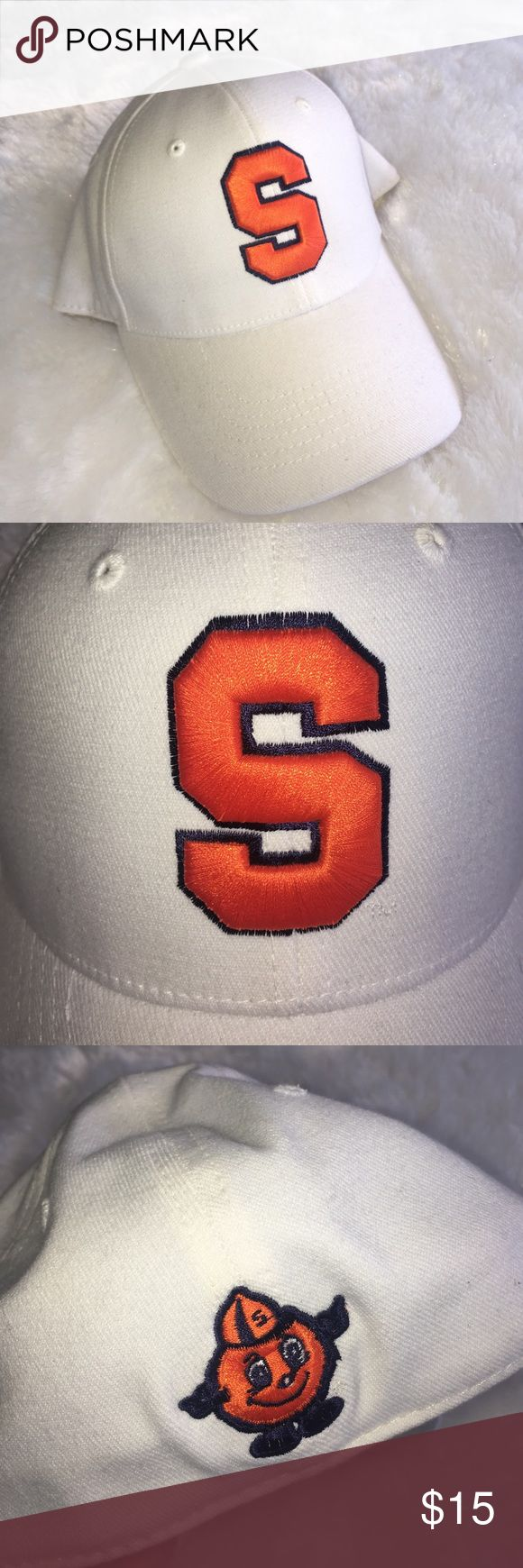 """White Syracuse Orangemen one fit hat Only worn once and in excellent condition!  """"One fit"""" sizing stretches to accommodate most sizes. Top of the World Accessories Hats"""
