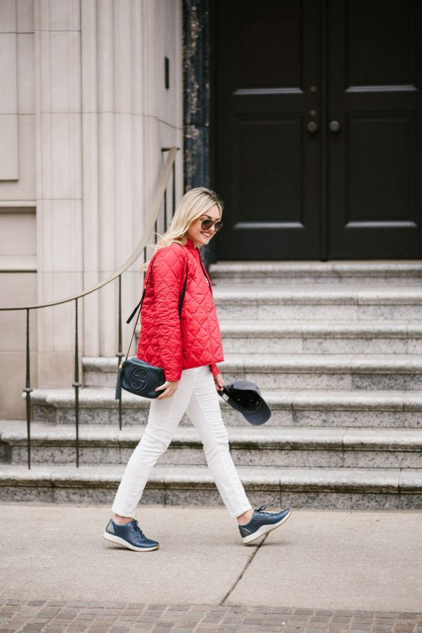 Supportive Shoes & Sneakers — bows & sequins. Red light quilted jacket+white and blacks striped tee+white corduroy pants+navy sneakers+black Gucci crossbody bag+sunglasses+black baseball cap. Spring Casual Outfit 2017