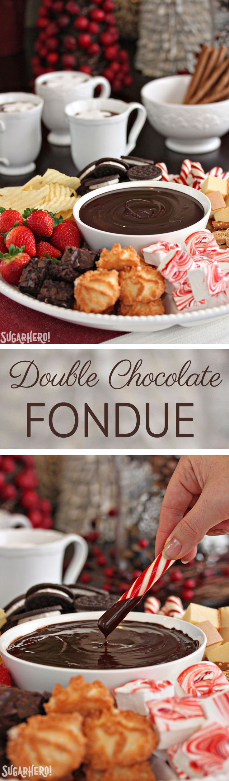 Double Chocolate Fondue, made with just 2 ingredients! Super easy and the perfect dessert for big parties! | From SugarHero.com