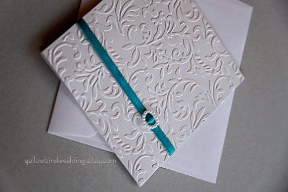 Handmade wedding invitation  teal and pearl by YellowBirdWedding, $3.00