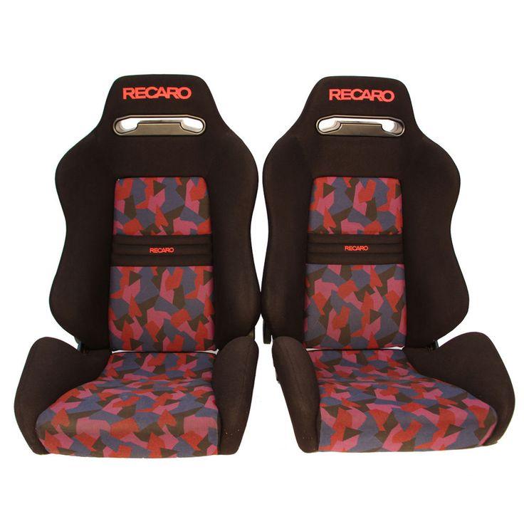 2 jdm recaro sr3 rainbow reclinable bucket racing seats