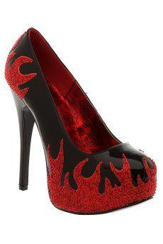 Black Red Flame Platform Heel