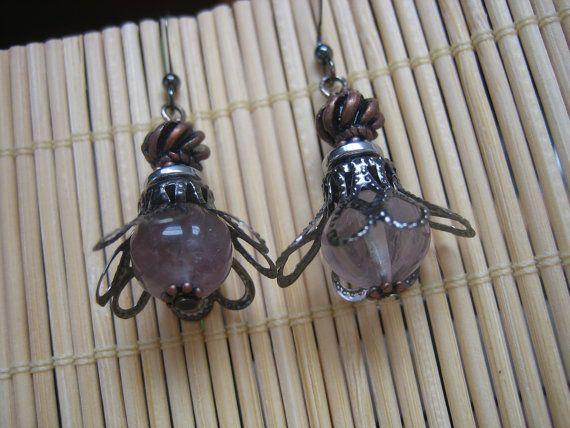 One-of-a-kind Steampunk Victorian Copper, Gunmetal and Fluorite Dangle Earrings -$20.00