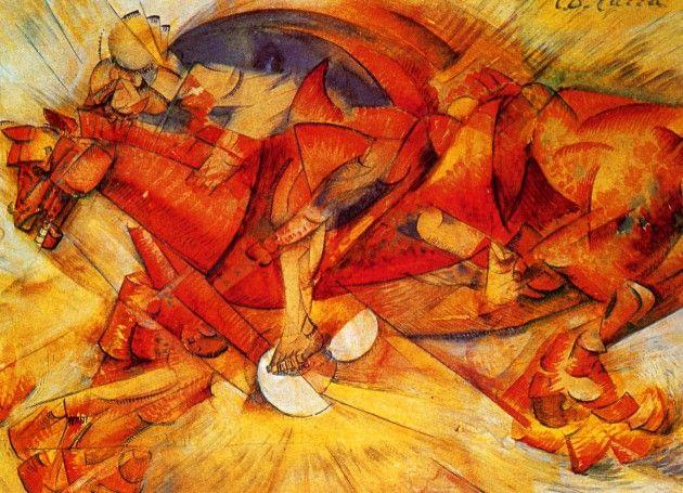 """""""El jinete rojo"""" de Carlo Carrá, fue un pintor italiano, uno de los líderes del movimiento futurista junto con Marinetti."""