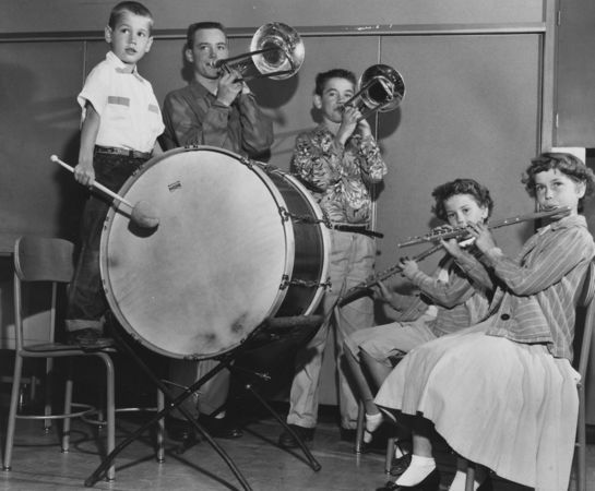 Published On July 7, 1955 High score for family music-makers at Atkinson goes to Reinmillers, at right: George, 17, graduate of Washington and a student-instructor; Bill, 12; Sandra, 9; Karen, 10, and Allen, 6, who drums with beginning orchestra. Oregonian file photo