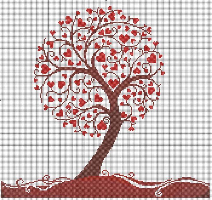 Схема сердечное дерево вышивка