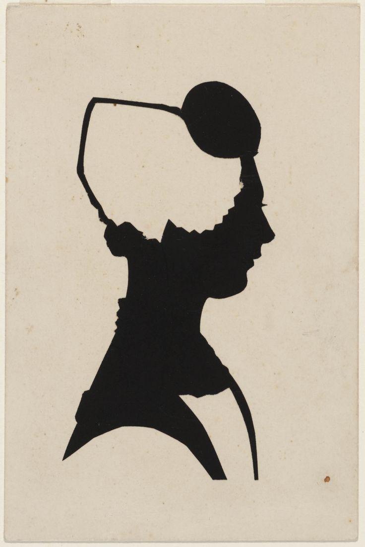 Geknipt silhouet van vrouw in Zeeuwse dracht, voorstellende Mej. Kaatje van der Hage ca 1950 door van Reenen #Zeeland #Walcheren