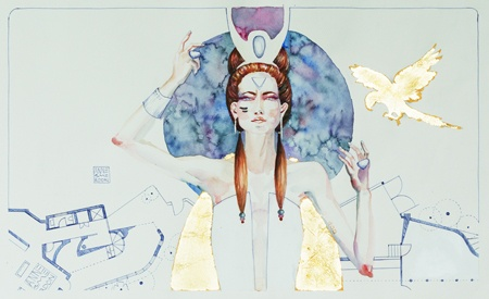 Artwork by Anne Smerdon Life. The universe. Everything - 2013 Watercolour, gold leaf and biro on paper 30 x 50 cm