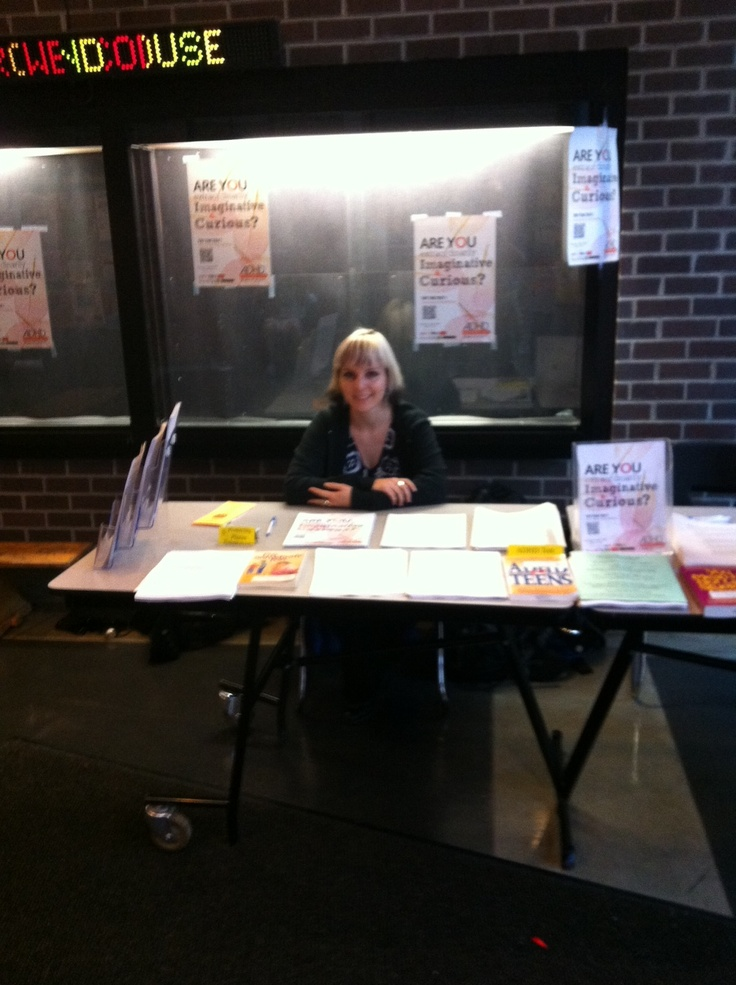 Jade staffing our ADHD info table at The Roundhouse community center in Vancouver BC for ADHD Awareness week. #2 Vancouver Adult ADD Support Group. Photo by Pete