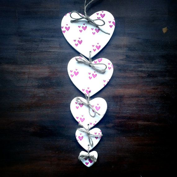 Pink and White Heart Shaped Clay Garland