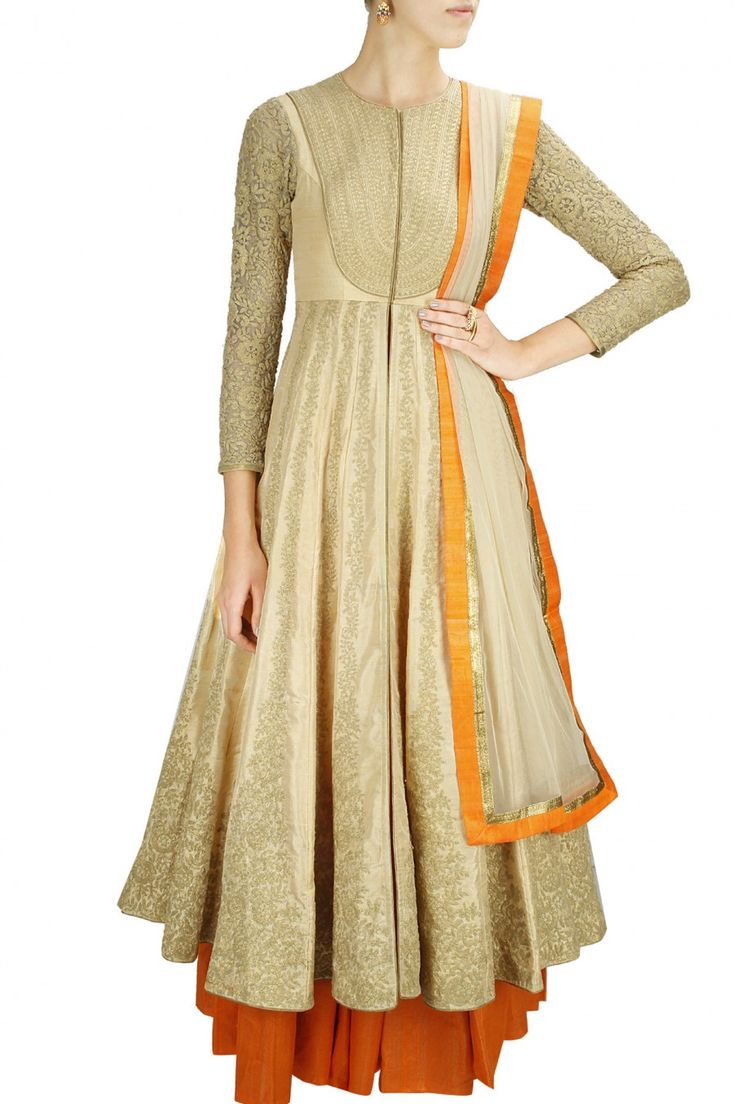Presenting : Beige and orange dress robe by Anoli Shah.
