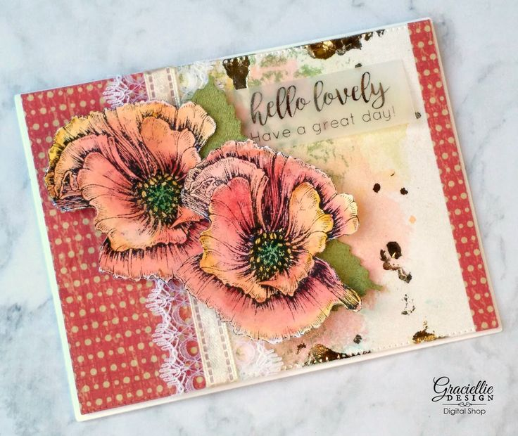 Paper Temptress & Graciellie Design. Watercolor Crayons by Stampin' Up, #digitalstamps from our Etsy shop, a touch of gold Deco Foil by Therm O Web in a mixed media background. Also ribbons from May Arts Ribbon.