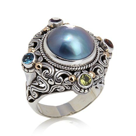 Shop Bali Designs by Robert Manse Cultured Mabé Pearl and Multigemstone Sterling Silver 18K Gold Accent Ring, read customer reviews and more at HSN.com.