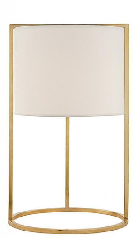 Lampe de bureau en laiton avec un abat-jour en soie / Desk Lamp in Soft Brass with Silk Shade Height: 17½