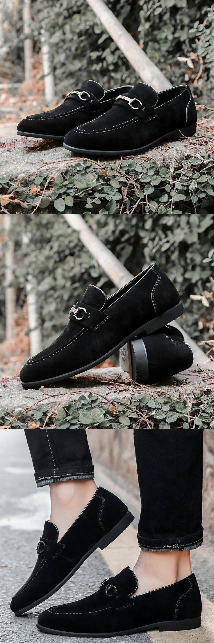 US $24.98<Click to buy> Prelesty Men Formal Shoes Horsebit Suede Tassels Loafers