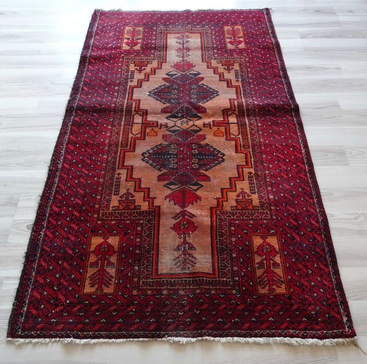 "Tile Red Antique Kilim, 36"" x 63.4"" Handwoven Floor Rug, Old Decorative Kelim"
