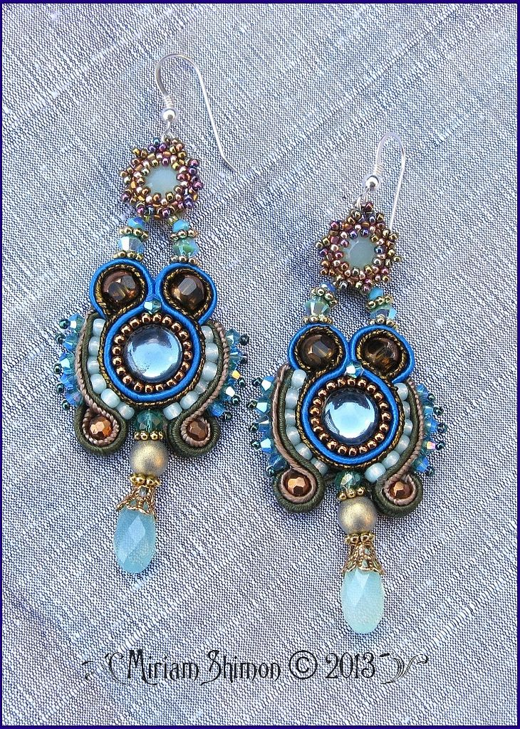 Blue and Mint Soutache earrings | by Cielo Design