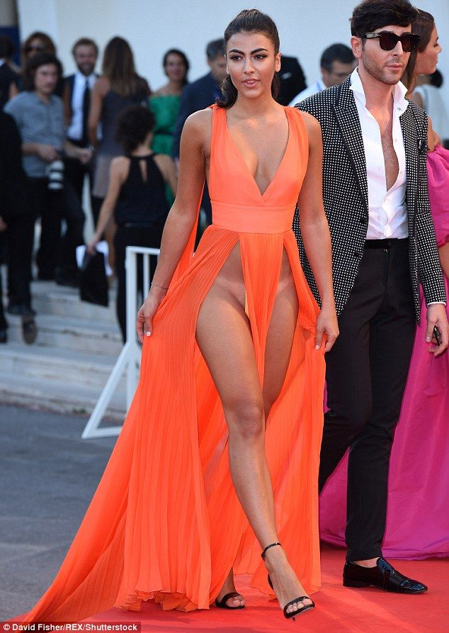 Imagination NOT required: Giulia Salemi put on a highly revealing display in her tangerine dress