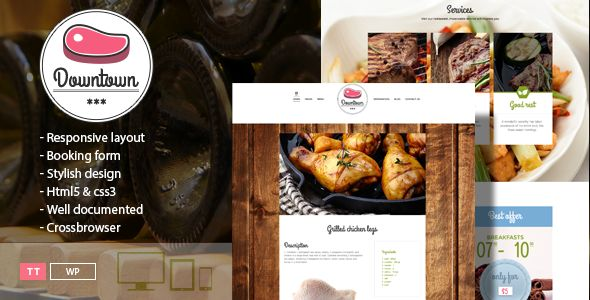 Downtown Restaurant WordPress Template