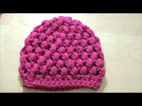 Πλεκτό σκουφάκι με πλέξη κουκουτσάκι (puff stitch) με βελονάκι - YouTube