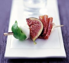 Wonderful combination of marinated fig, prociutto, mozzarella and basil leaf
