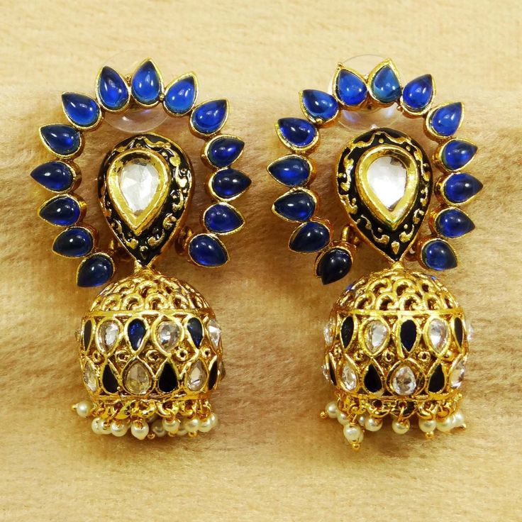 Beautiful Traditional Earrings With Blue Color