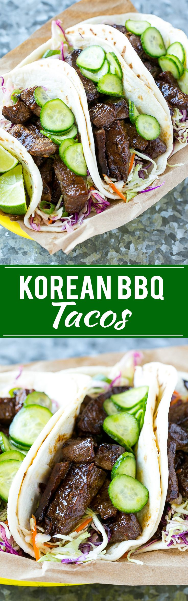 This recipe for Korean BBQ Tacos is marinated and seared beef layered with cabbage slaw and marinated cucumbers, all tucked into…