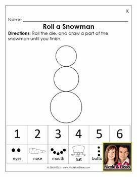 FREEBIE ALERT! Check out this roll a snowman & dice for Preschool & Kindergarten math!