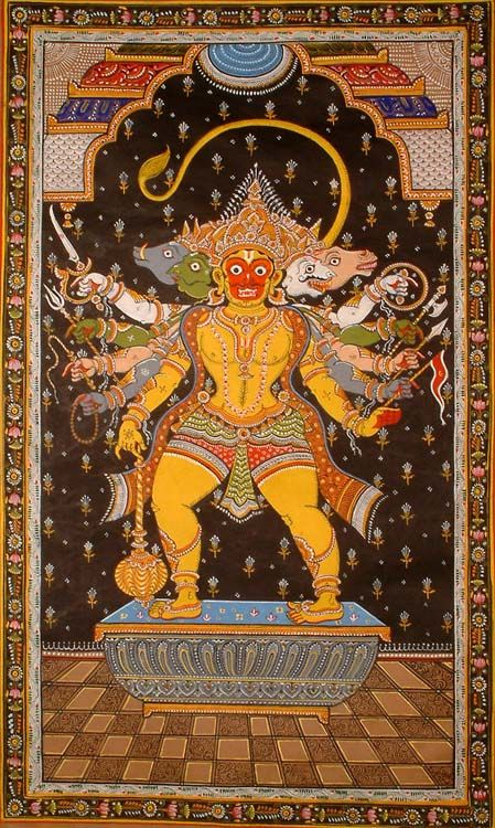The five headed Hanuman depicted here is in his 'Bhimkaya' aspect. The golden body of the monkey faced god looks as powerful as the million suns. Two heads on either side of him are those of Narasimha, Garuda, Varaha and Hayagriva. Narasimha is believed to bestow fearlessness on the worshipper; Garuda denotes extraordinary power; Varaha puts an end to all diseases and Hayagriva destroys the demons. The worship of Panchmukha Hanuman is very beneficial and protects the devotee against all…