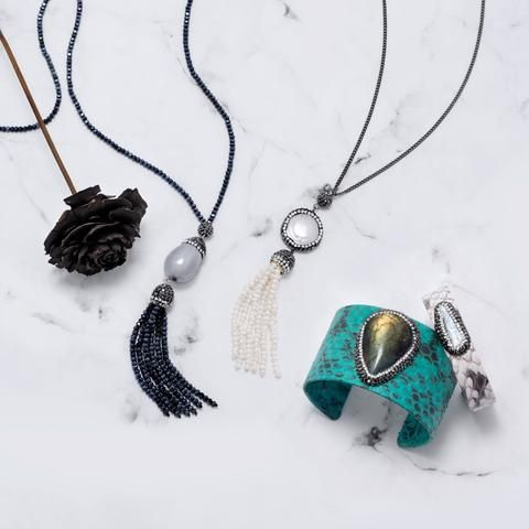 Tassel Necklaces Freshwater Pearl Tassel Drop Necklace at Liliana Skye #boho #vibes #layeringjewelry