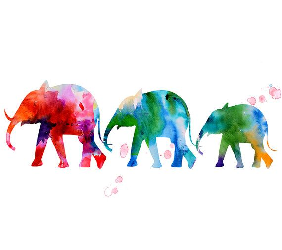 Watercolor art - watercolor painting print - elephant wall decor - animal painting watercolor