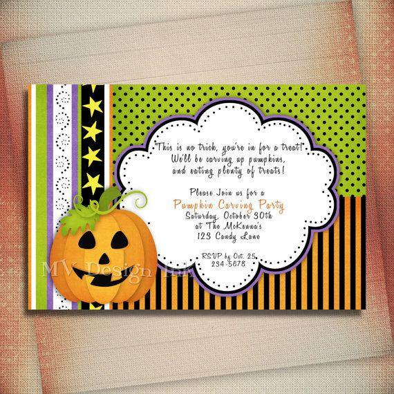 Pumpkin Birthday Invitation Halloween Birthday by MVDesignInk