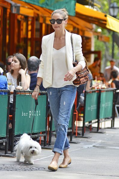 A linen blazer in soft ivory works well with faded jeans this time of year.