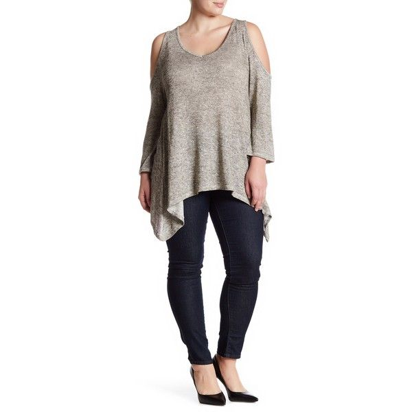 Want & Need Lurex Hatchi Cold Shoulder Sweater (Plus Size) ($17) ❤ liked on Polyvore featuring plus size women's fashion, plus size clothing, plus size tops, plus size sweaters, plus size, long sleeve sweater, v neck sweater, plus size long sleeve tops, long sleeve v neck sweater and womens plus sweaters