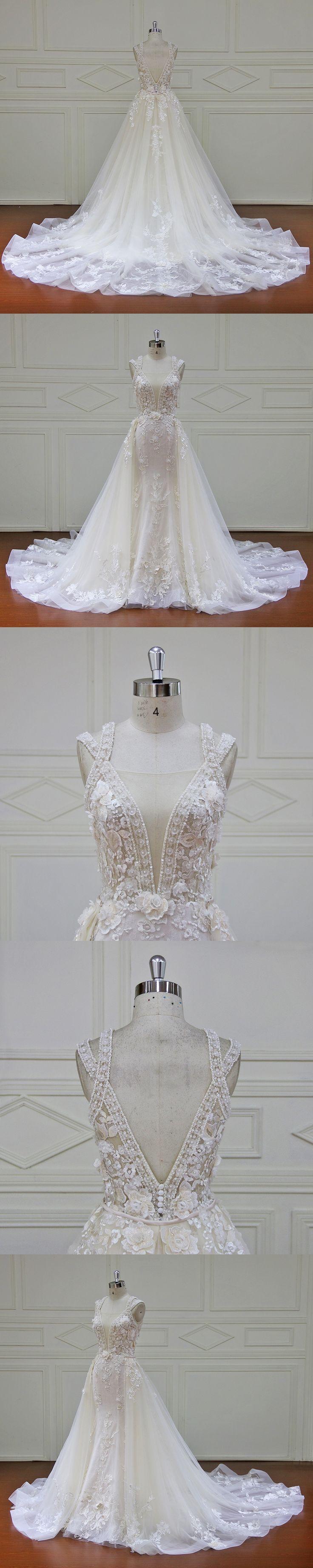 Eslieb Elegant Detachable Train Wedding Dresses Custom made Lace Pearls Sleeveless Wedding Dress 2018 Vestido de Noiva