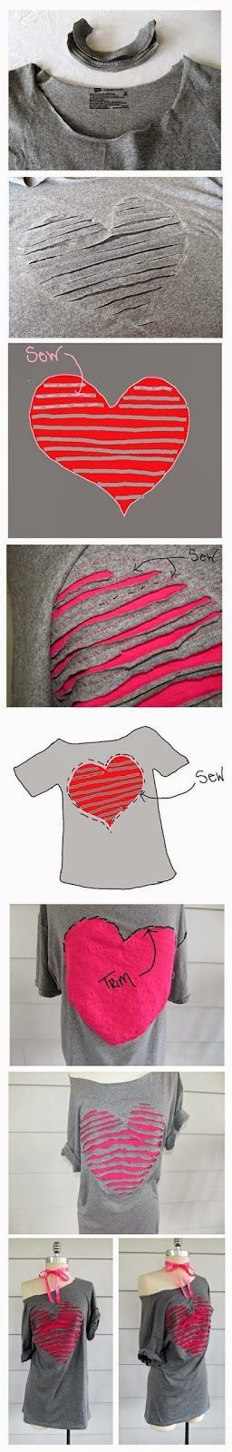 Recycling Old t-shirt remake As you see, you can easily renew your T-shirt. Just mark the shape you want over the cloth and cut parts o...